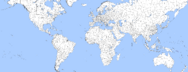 Map of the world with white regions.