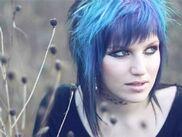 Girl with blue hair