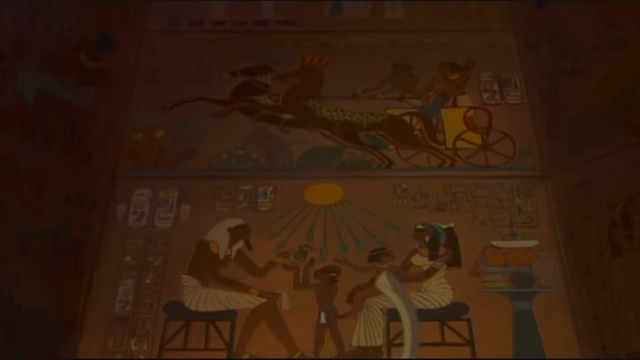 File:A mural depicting Moses and Rameses as children with their parents.png