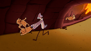 S6E03.223 Mordecai Swinging a Demon Gopher Around
