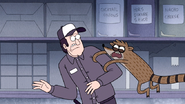 S4E36.182 Rigby Latching onto a Security Guard