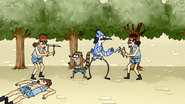 S4E13.154 Mordecai and Rigby Fighting Two Scythe Guards