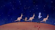 S6E13.088 Mordecai, Rigby, and Kangaroos Hopping Away