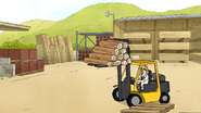 S7E06.110 Zaxon Operating a Forklift Carrying Logs