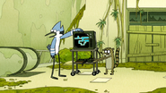 S6E19.117 Mordecai and Rigby Escape the Escalator