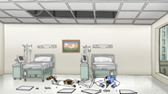 S6E27.113 Mordecai and Rigby Landing in a Hospital