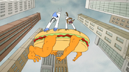 S6E27.124 Mordecai and Rigby Falling with Monster Sandwich