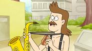 S6E11.067 Sad Sax Guy Eating a Trash Hot Dog
