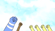 S6E24.212 Mordecai, Rigby, and Baby Ducks Fist Pumping