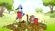 S7E11.099 Mordecai and Rigby Raking All the Leaves