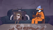 S7E09.336 Mordecai and Rigby Noticing Chocolate is Spreading on Mordecai