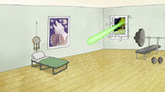 S8E16.027 Laser Heading Towards Skips' Bed