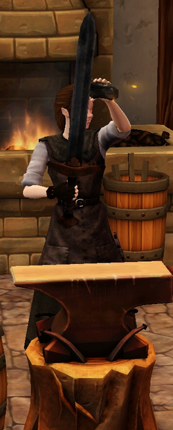 Crude longsword sharpened by blacksmith