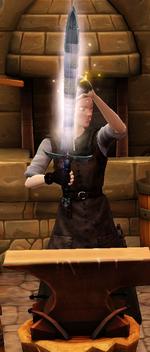Mana s edge sharpened by blacksmith