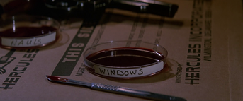 Petri dish containing Windows' blood - The Thing (1982)