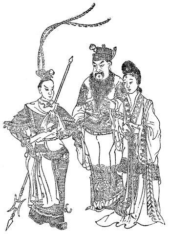File:Lü Bu, Dong Zhuo, Diaochan - Qing SGYY.jpg