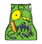 Stuffed-Pencil-Case Green School-Trash S5