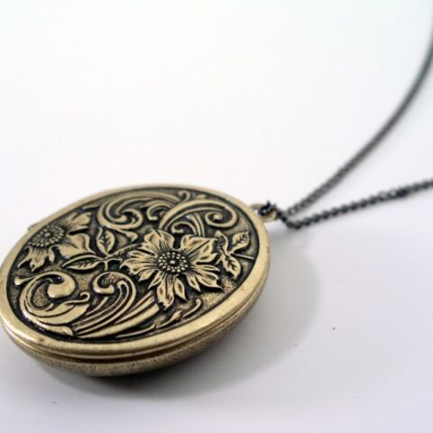 Caitlin's necklace that has pictures of a young Stefan and Damon inside.