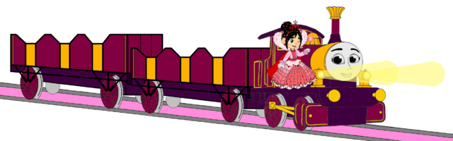 File:Lady with Princess Vanellope, her Double Open-Topped Carriage & Shining Gold Lamps.png