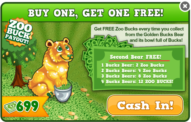 Gold bucks bear modal