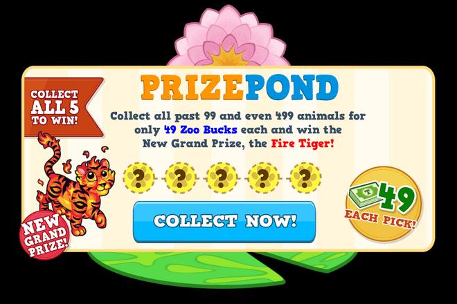 Fire tiger prize pond modal