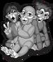 Three funny monkeys single