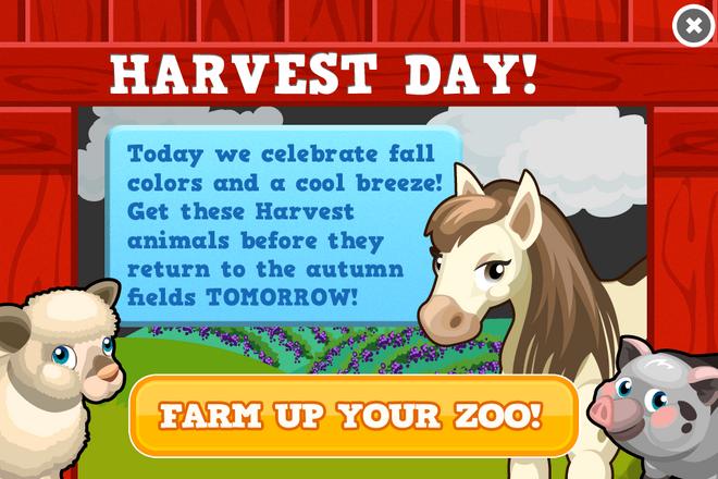 Harvest day modal
