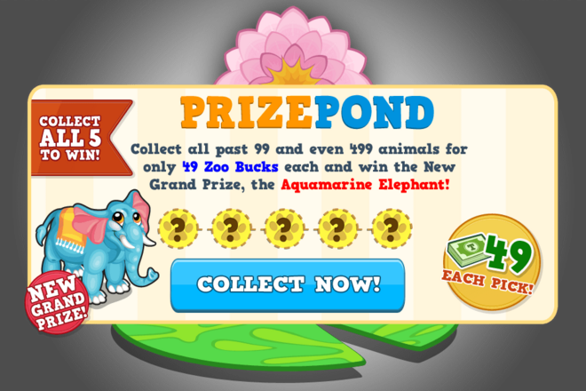 Aquamarine elephant prize pond modal