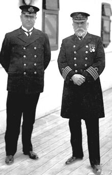 Purser Herbert McElroy with Captain Edward Smith in Queenstown, Ireland.