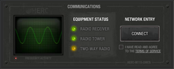 Communications panel in HUD
