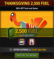 Tlsdz thanksgiving 2500 fuel package 2014
