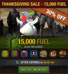Tlsdz thanksgiving sale 2015 - 15000 fuel