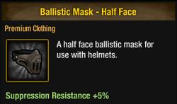 Ballistic mask - half face