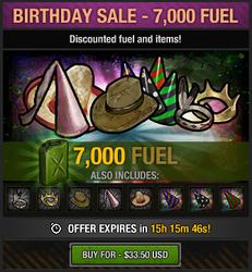 Tlsdz birthday sale 7000 fuel