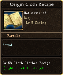 Origin Cloth Recipe