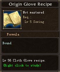 Origin Glove Recipe