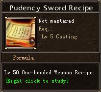 Prudency Sword Recipe