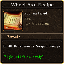 Wheel Axe Recipe