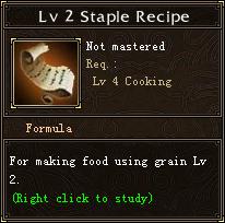 Lv 2 Staple Recipe