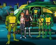 Leo,Raph,Don, Mikey,April and Casey 1