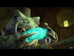 Rasputin the Mad Frog holding a jar of mutagen.