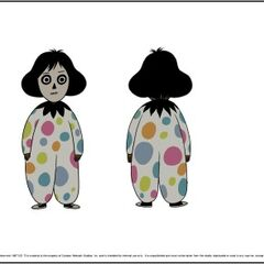Model sheet for her clown costume.