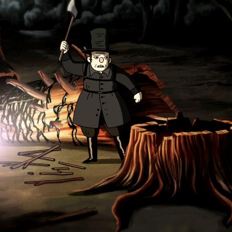 Woodsman chopping Edelwood.