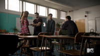Teen Wolf Season 3 Episode 2 Crystal Reed Holland Roden Tyler Hoechlin Tyler Posey and Dylan O'Brien Meeting at school