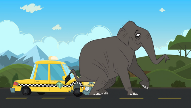File:Elephant sits on taxi.png