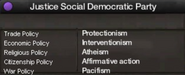 Justice Social Democratic Party views