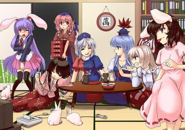 File:Animal ears+fujiwara no mokou+houraisan kaguya+inaba tewi+kamishirasawa keine+mystia lorelei+reisen udongein inaba+touhou+yagokoro eirin.jpg