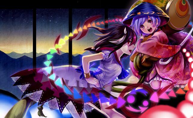 File:Konachan-com-179551-2girls-black hair-bow-dress-hat-horns-jpeg artifacts-kijin seija-pink eyes-purple hair-red eyes-red hair-sanso oxy-o2-short hair-touhou-white hair.jpg