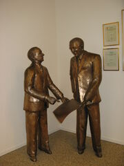Gustav Larson and Assar Gabrielsson in museum of Volvo in Gothenburgh