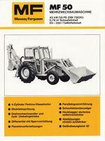 MF 50 backhoe b&w brochure